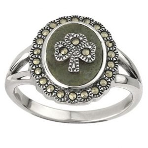 Solvar Sterling Silver Marcasite Shamrock Marble Ring S2824 ExclusivelyIrish.com