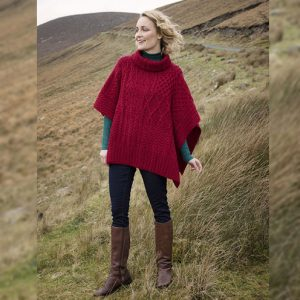 Aran Woollen Mills Irish Merino Wool Patchwork Aran Cowl Cape A453262 Red ExclusivelyIrish.com
